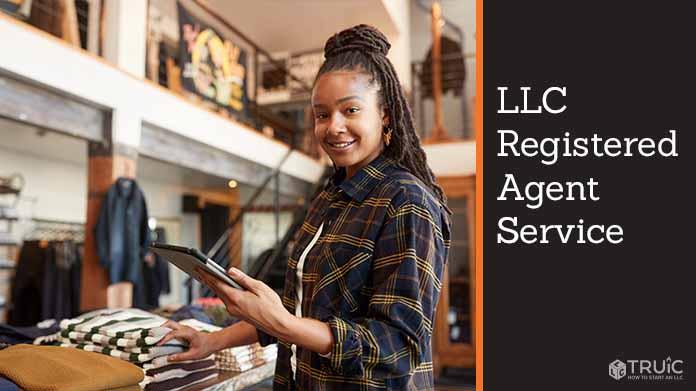 A businesswoman looking up an LLC Registered Agent Service