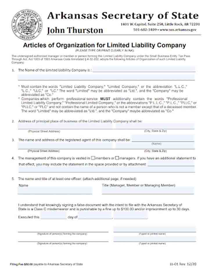 An image of the manual LLC filing form for the state of Arkansas
