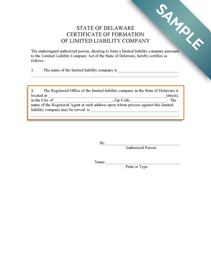 An image of the manual LLC filing form for the state of Delaware