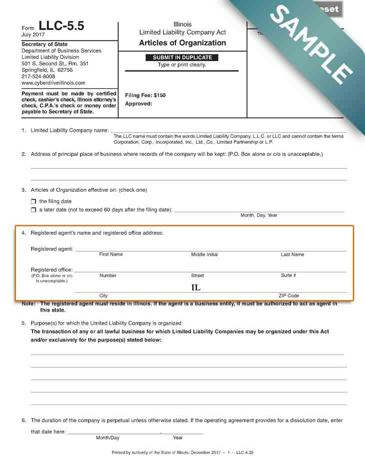 An image of the manual LLC filing form for the state of Illinois