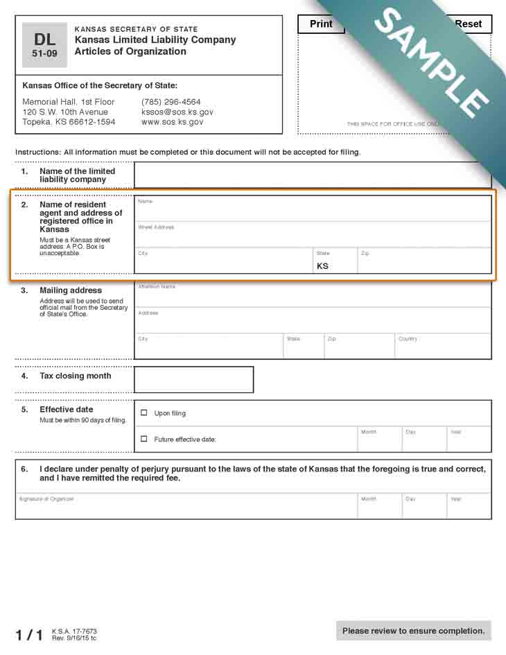 An image of the manual LLC filing form for the state of Kansas