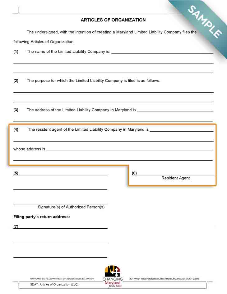 An image of the manual LLC filing form for the state of Maryland
