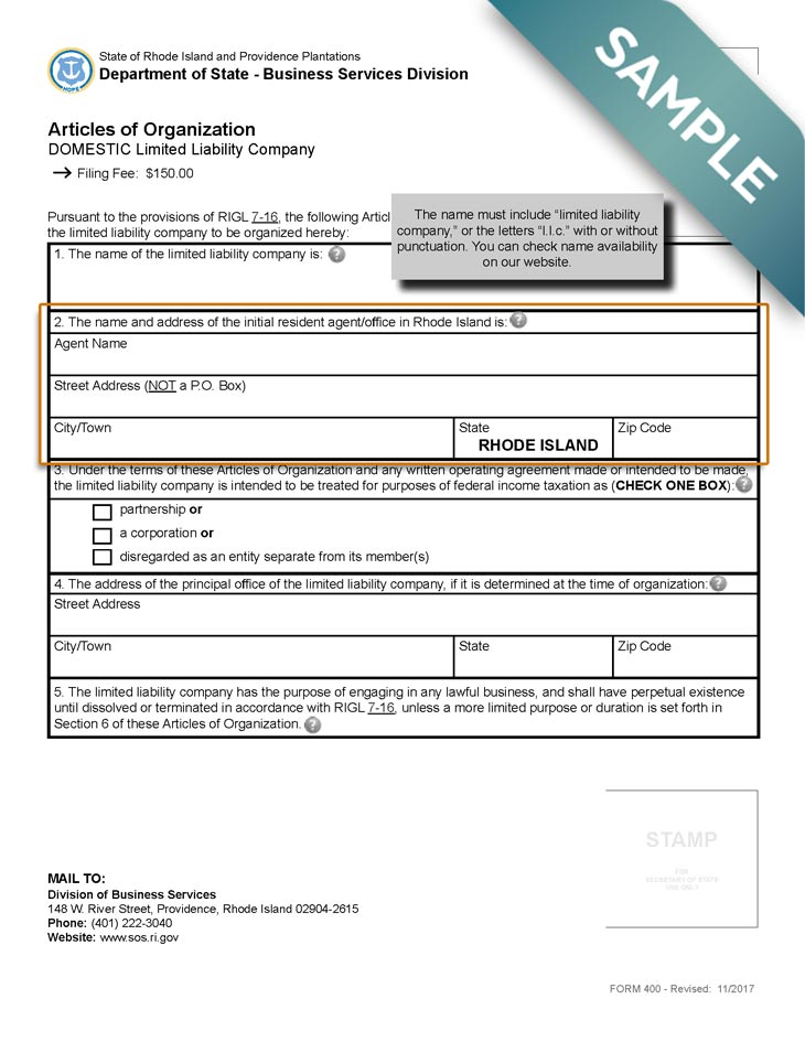An image of the manual LLC filing form for the state of Rhode Island