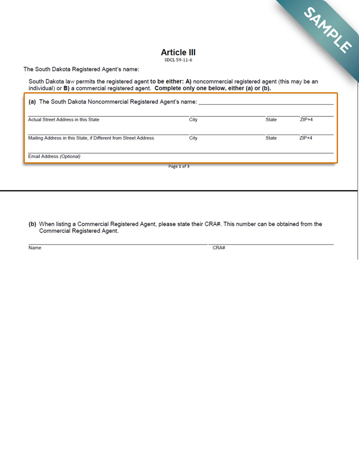 An image of the manual LLC filing form for the state of South Dakota