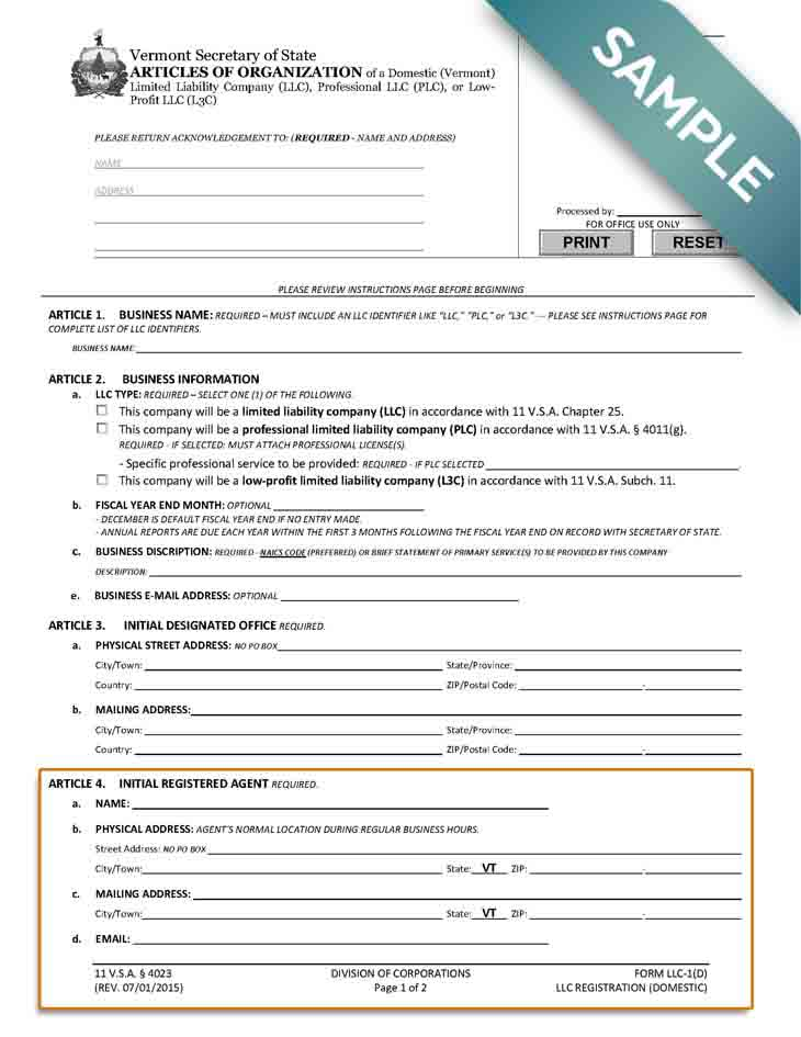 An image of the manual LLC filing form for the state of Vermont