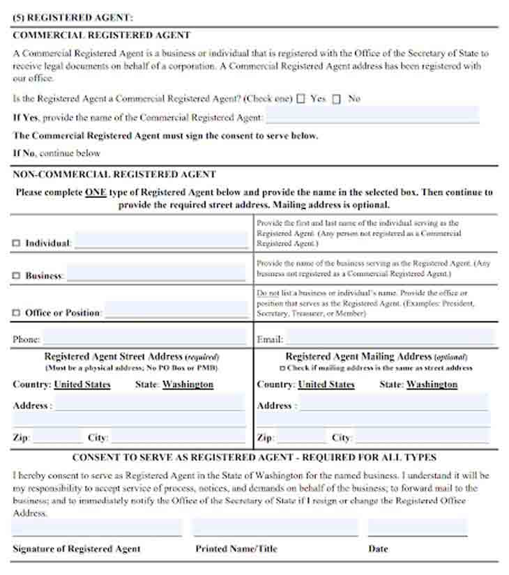 An image of the manual LLC filing form for the state of Washington