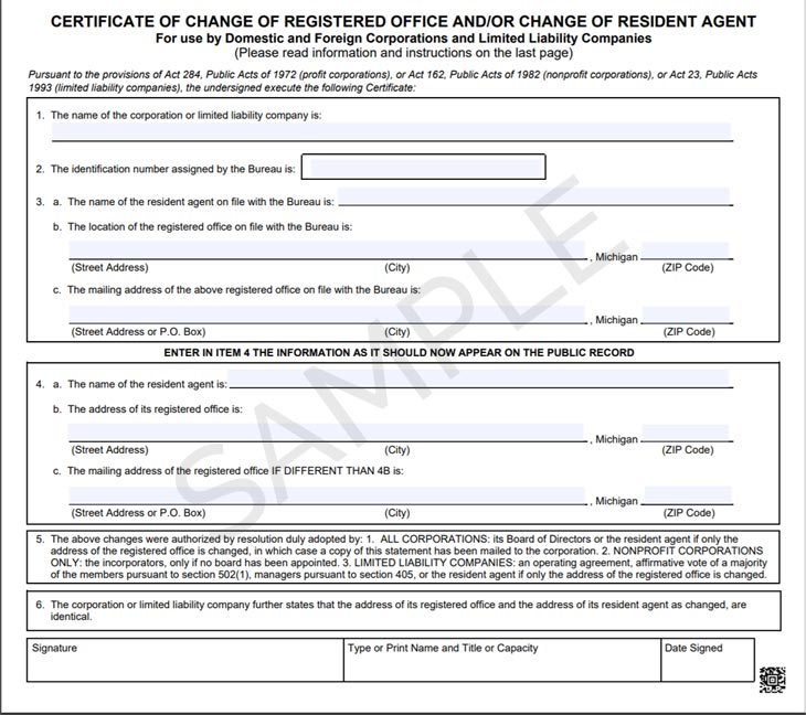 Sample image of the Michigan Certificate of Change of Registered Agent Form