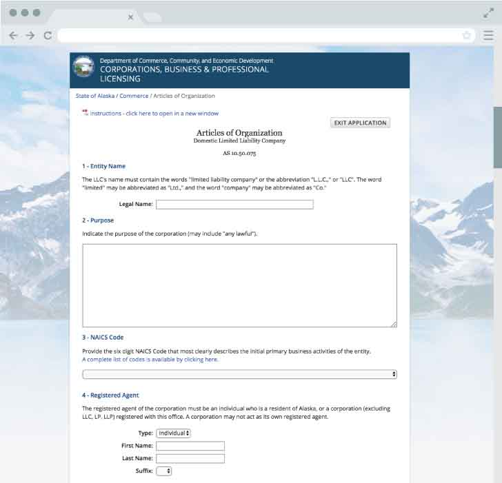 An image of the online LLC filing form for the state of Alaska