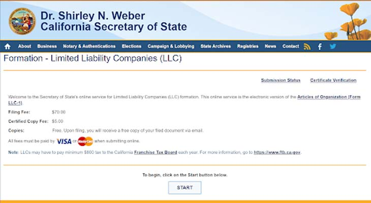 An image of the online LLC filing form for the state of California