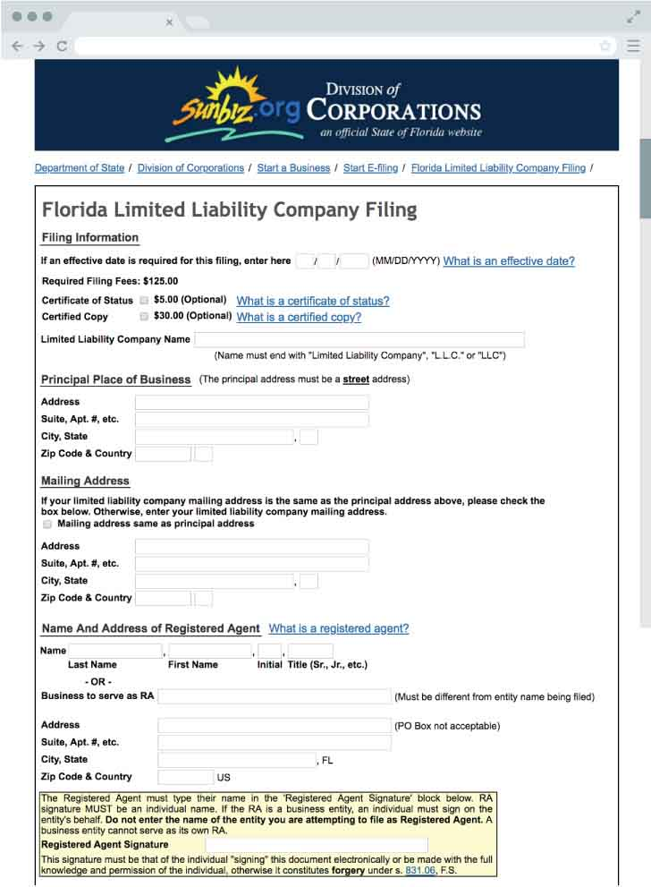 An image of the online LLC filing form for the state of Florida