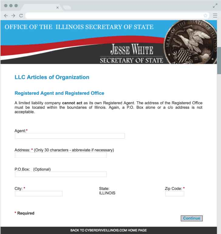 An image of the online LLC filing form for the state of Illinois