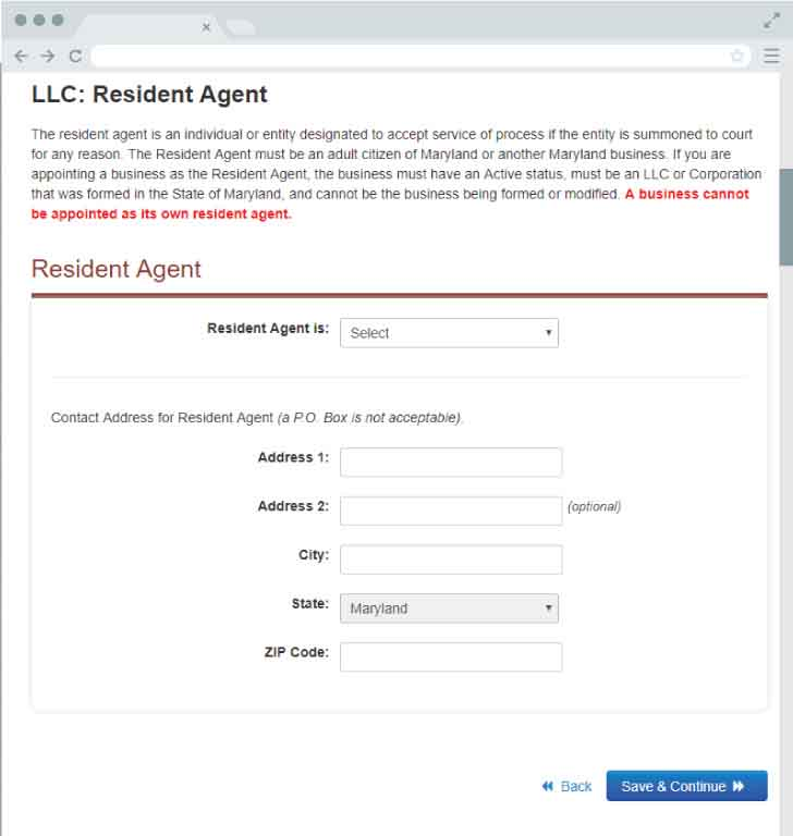 An image of the online LLC filing form for the state of Maryland