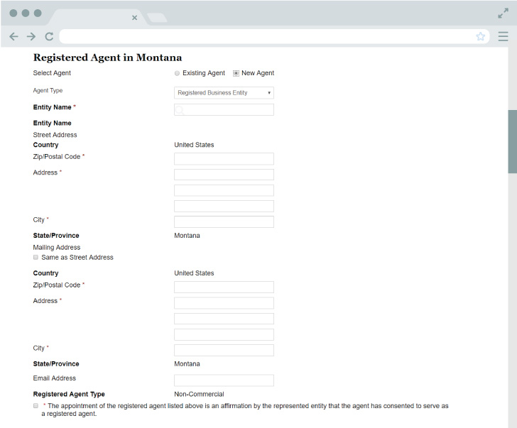 An image of the online LLC filing form for the state of Montana