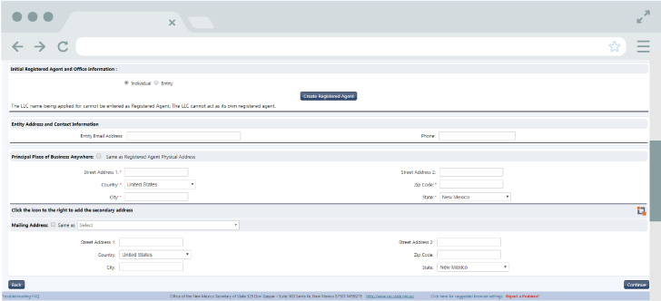 An image of the online LLC filing form for the state of New Mexico