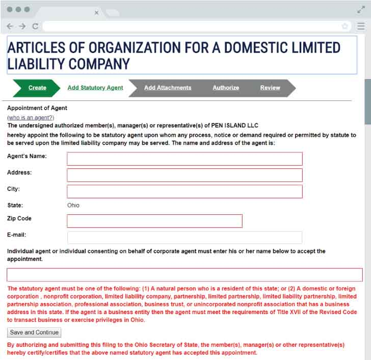 An image of the online LLC filing form for the state of Ohio