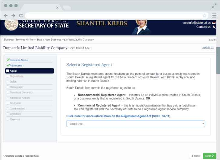 An image of the online LLC filing form for the state of South Dakota