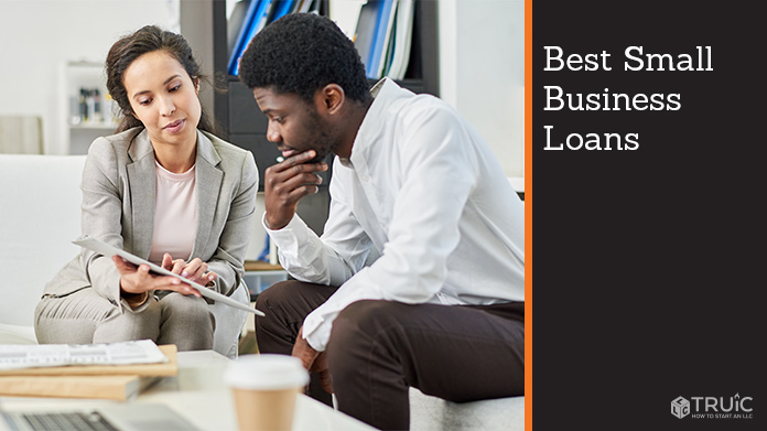 Two professionals discussing business documents and text that reads, Best Small Business Loans.