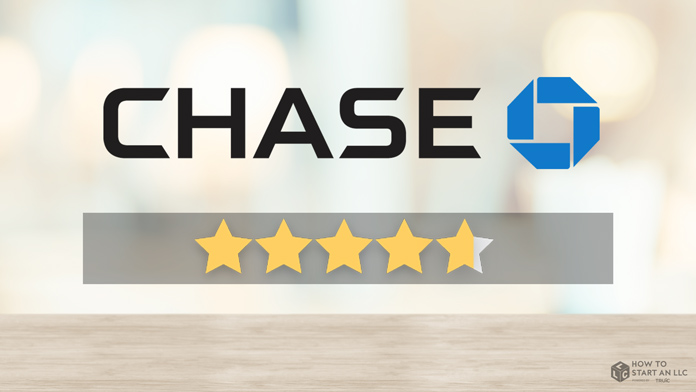 A Chase business account illustration with ratings stars
