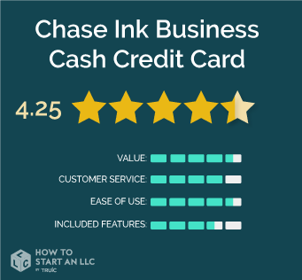 Chase Ink Business Cash Scorecard, Value 4.5/5, Customer Service 4/5, Ease of use 4.5/5, Included Features 3.5/5, Overall Rating 4.125