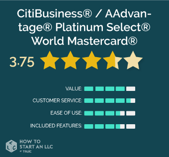 CitiBusiness® / AAdvantage® Platinum Select® World Mastercard® scorecard, scores out of 5, Value 4, Customer Service 4.5, Ease of Use 3.5, Included Features 3.5
