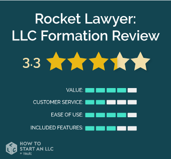 Rocket Lawyer scorecard, scores out of 5, Value 4.5, Customer Service 5, Ease of Use 4.5, Included Features 4