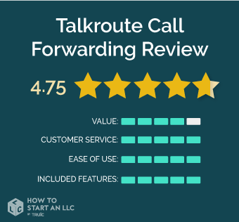 Talkroute scorecard, scores out of 5, Value 4, Customer Service 5, Ease of Use 5, Included Features 5