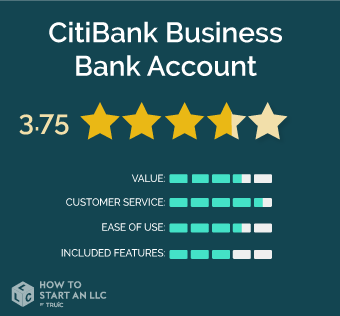 CitiBank scorecard, scores out of 5, value 3.5, Customer Service 4.5, Ease of Use 3.5, Included Features 3
