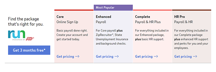 Screenshot of ADP's Plans taken from their website