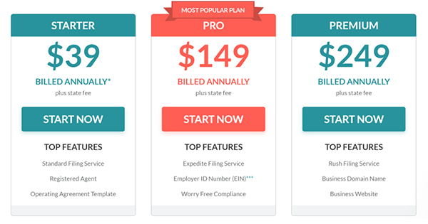 Screenshot of the pricing options for ZenBusiness.