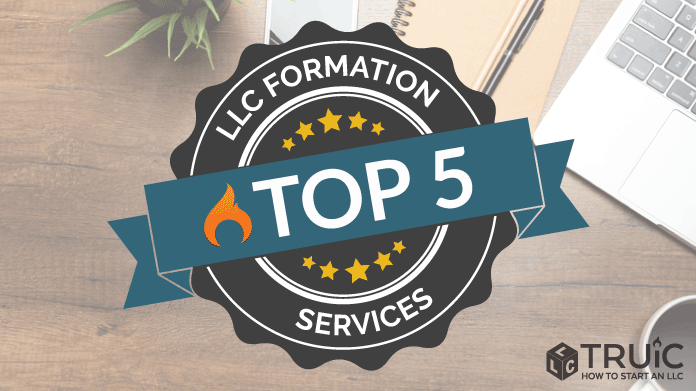 Top 5 LLC Formation Services written on a ribbon.