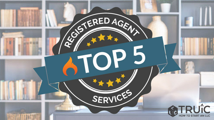 Top 5 Registered Agent Services written on a ribbon.