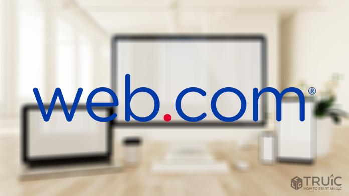 Web.com logo over blurred background.