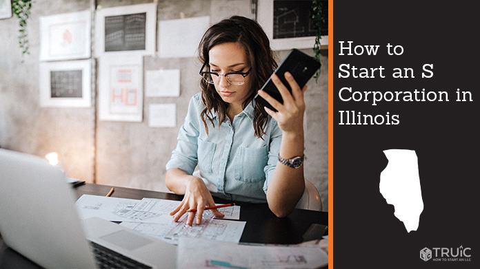 Woman looking over paperwork to start an S corporation in Illinois.