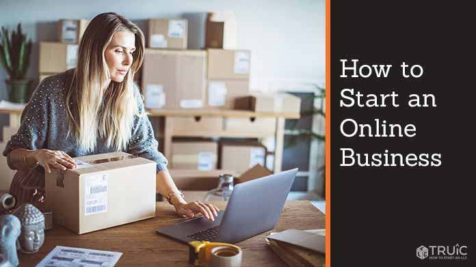 Female entrepreneur running her online shipping business at home.