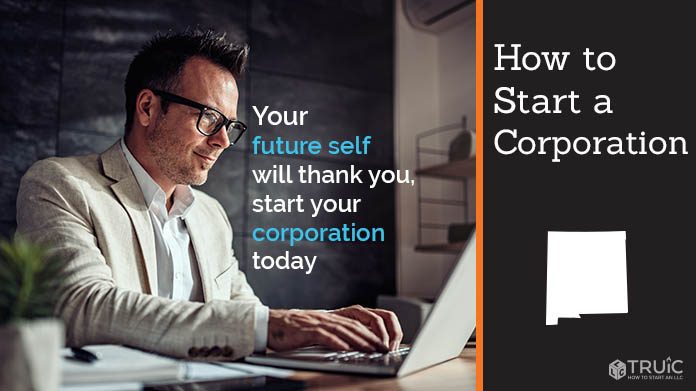 """Man at desk typing on laptop with text reading """"How to start a corporation"""""""