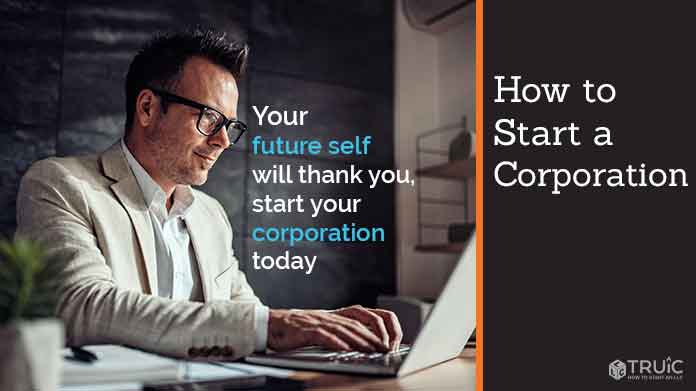 "Man at desk typing on laptop with text reading ""How to start a corporation"""