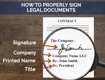 Image showing how to properly sign legal documents with your signature, Company Name, Printed Name, and Title
