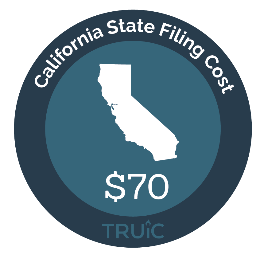 California State map icon with filing cost