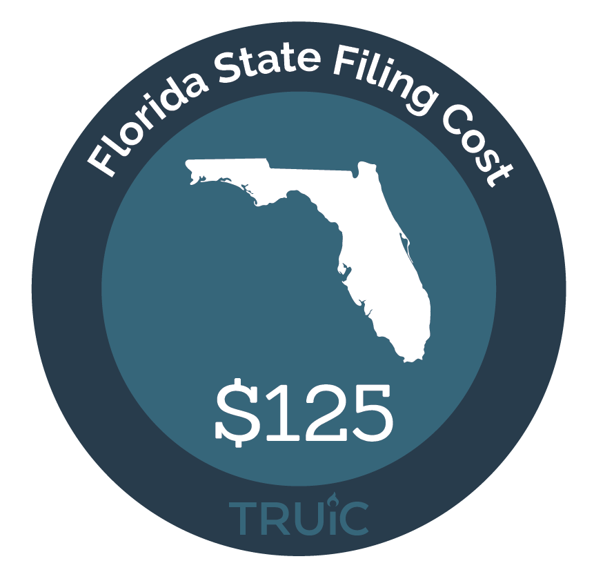 Florida State map icon with filing cost