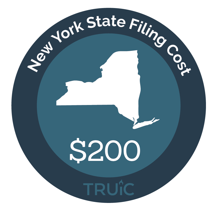 New York State map icon with filing cost