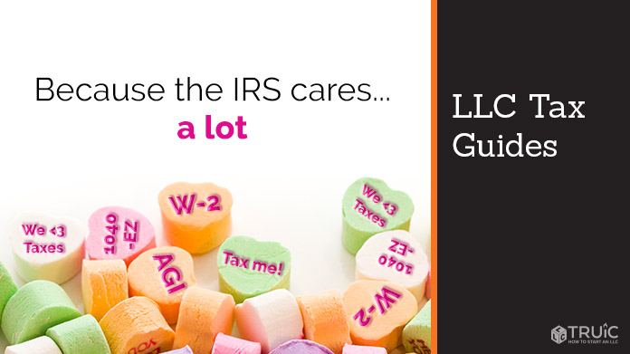 Candy hearts stamped with W-2, Tax me, etc. Text: 'Because the IRS cares… a lot'